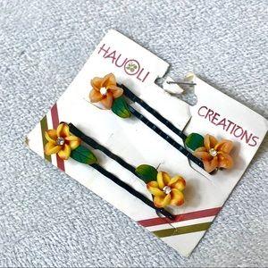 NWT x4 Hauoli Creations Hawaii Floral Bobby Pins